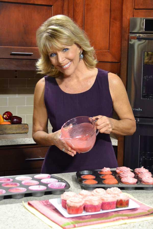 Jan D'Atri baking cupcakes on Midday TV
