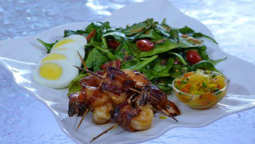 Honey Glazed Bacon-Wrapped Shrimp