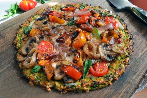 Zucchini Crust Pizza with Sautéed Tomatoes and Mushrooms