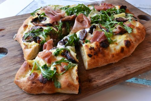 4 Cheese Pizza with Prosciutto, Fig, and Arugula