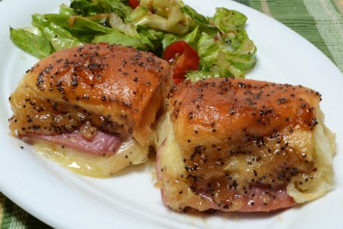 Caramelized Ham and Swiss Baked Buns