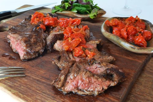 Spiced Rubbed Steaks with Tomato Chutney