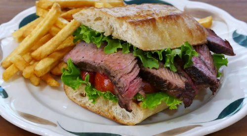 steak sandwich with cheese spread