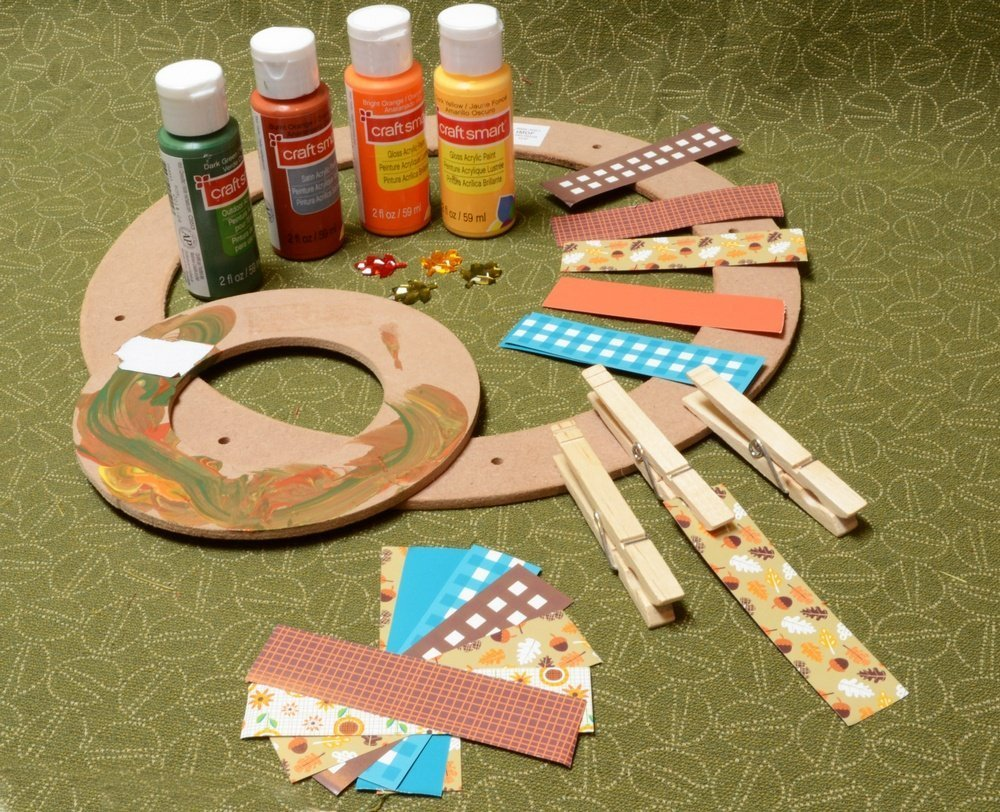 Supplies for making Clothespin Wreath