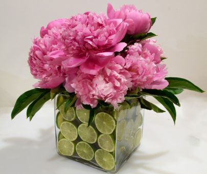 Pink flowers in glass jar
