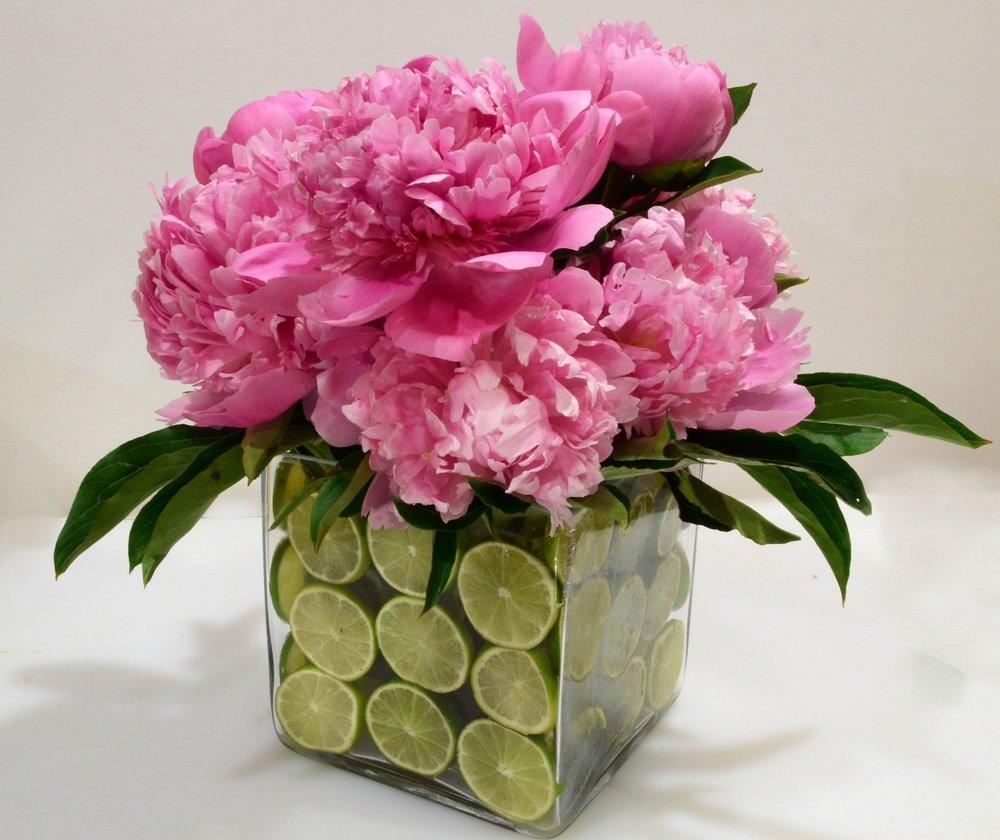 Pink flowers in glass jar