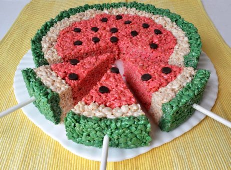 Watermelon Wedge Rice Krispie Treats