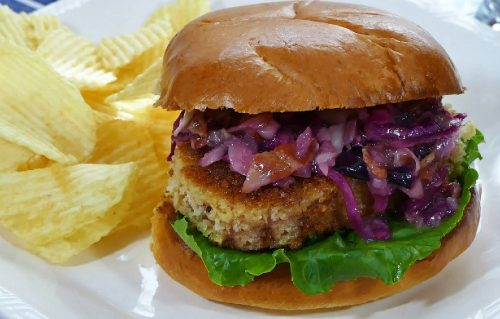 Spam Burger with Sweet and Sour Slaw