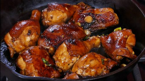 Sticky Chicken and Crispy Potatoes