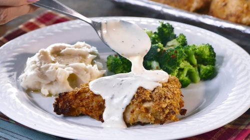 Crispy Oven Fried Chicken with Creamy Parmesan Sauce