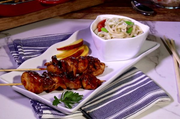 sweet and spicy chicken skewers