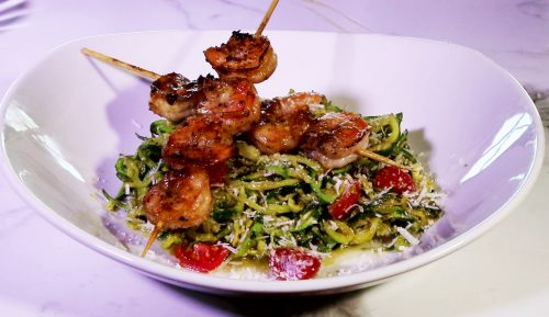 Zoodles with Grilled shrimp