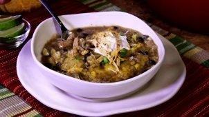 Chicken Enchilada Soup with Cornmeal Dumplings