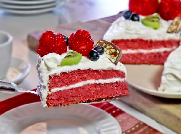 strawberry excuse cake slice
