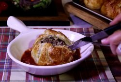 Cheesy Mega-Meatballs in Puff Pastry