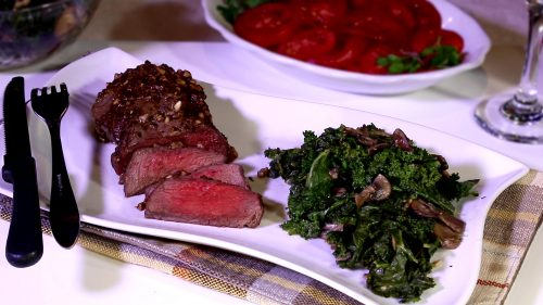 Filet with Kale Mushroom Saute