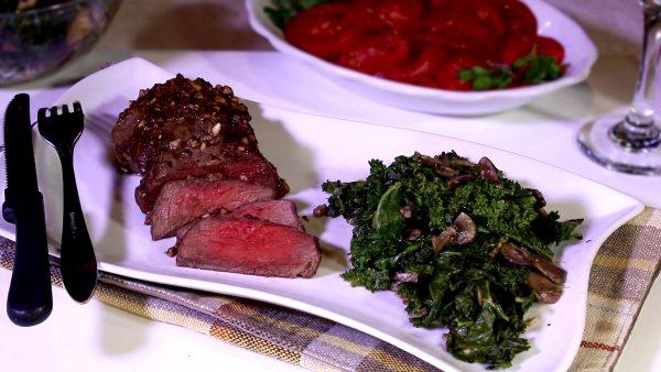 Filet with Kale Mushroom Saute