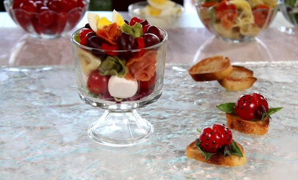 Mini Trifle Salad with tomatoe lady bug