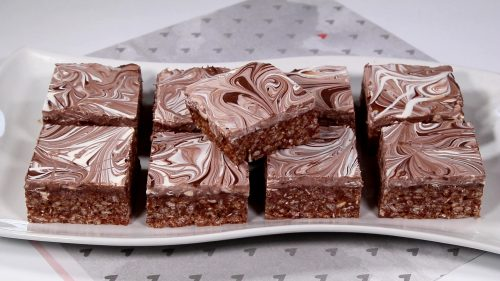 Nutella Swirled-Top Rice Krispie Treats