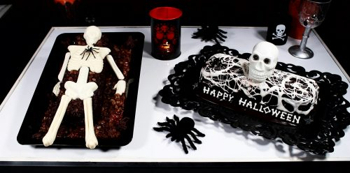 spooky cakes on a table