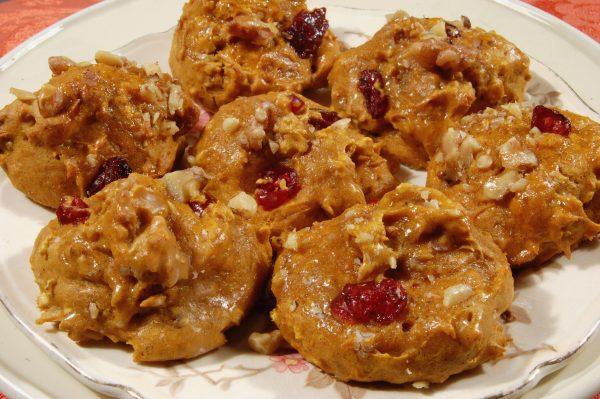 Pumpkin cake cookies on a white plate