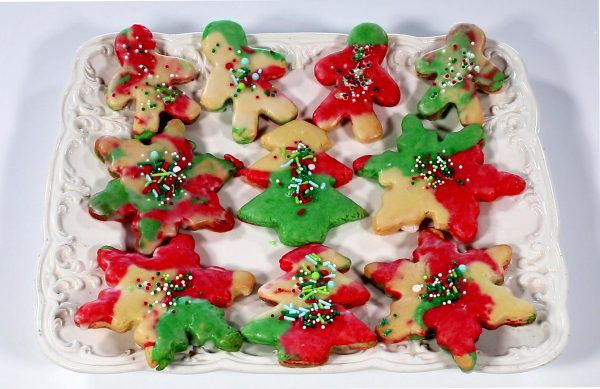 Stocking Cookies on a platter