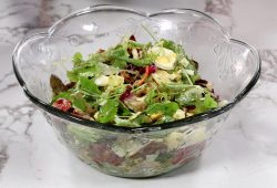 salad in a large glass bowl